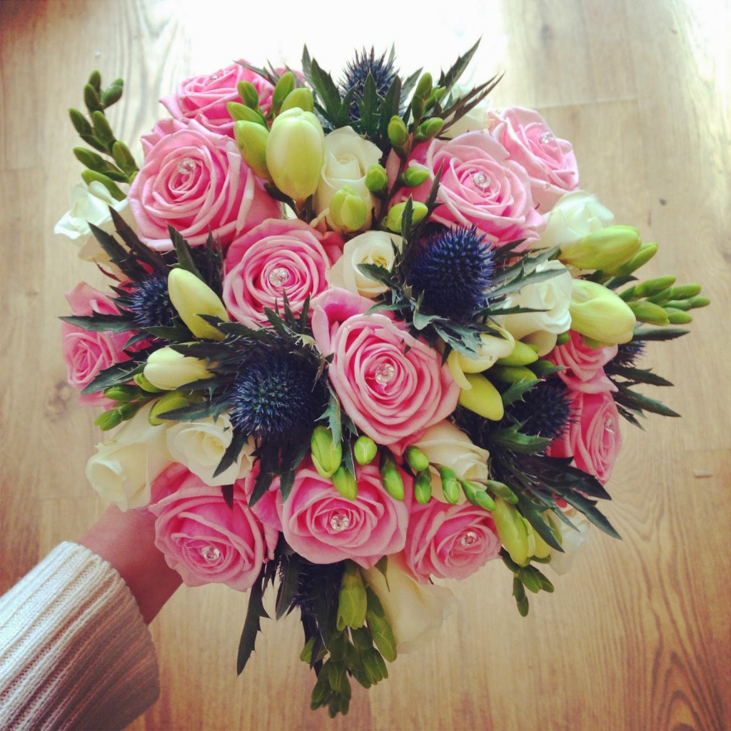Pink and thistle bouquet